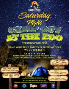 Come to eat or spend the night but bring the family and enjoy good food, family time and see the animals at night.